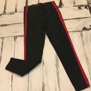 High rise side stripe pants